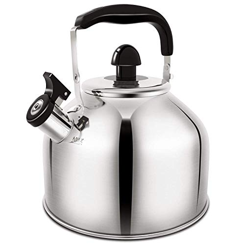 Whistling Tea Kettle, Stainless Steel Teakettle for All Stovetop With Ergonomic Handle - 3.9 Quart Whistling Teapot