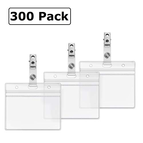 Horizontal ID Badge Holder and Metal Clips with Vinyl Straps Clear Plastic Name Tag Holders Waterproof PVC ID Card Holder by ZHEGUI (300 Pack, Horizontal 2.3X3.5) ()