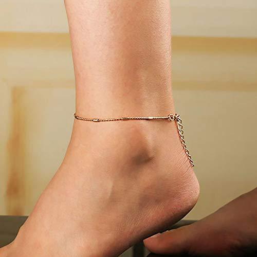 Feketeuki Simple Plage Dames Cheville cha/îne en m/étal Chaussures d/écoration Cadeau Cadeau Argent