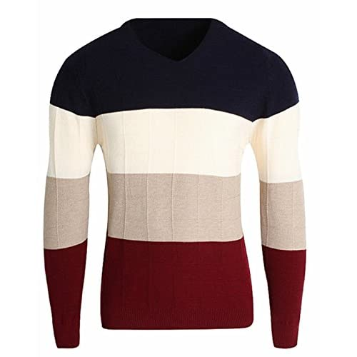 Hot CIC Collection Men's Slim Stripe V-Neck Knitted Pullover Sweater supplier