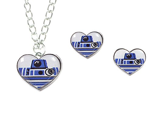 Disney Star Wars R2-D2 Heart Necklace and Earring Set (Star Wars Imperial Necklace compare prices)