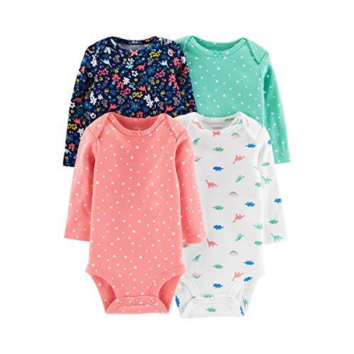 Carter's Baby Girls 4-Pack Original Long Sleeve Bodysuits (Dino),Pink,12 Months ()