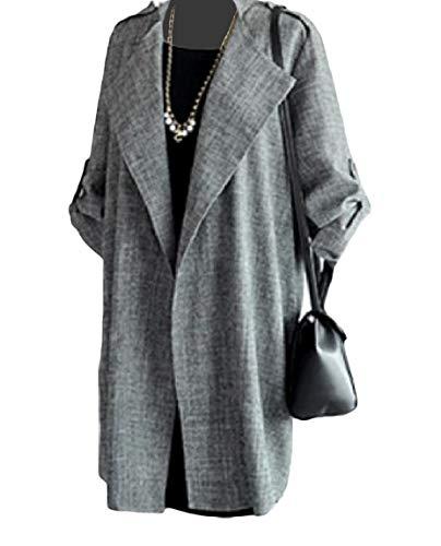 LinkShowWomen Relaxed Mid Long Pure Color Open-Front Thin Business Coat Dark Grey L by LinkShowWomen