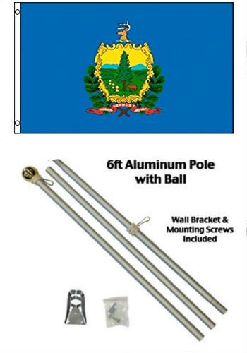 ALBATROS 2 ft x 3 ft 2x3 State of Vermont Flag Aluminum Pole Kit Gold Ball Top for Home and Parades, Official Party, All Weather Indoors Outdoors