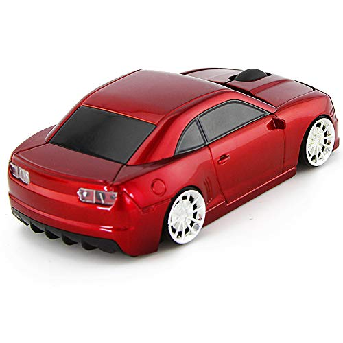 Usbkingdom 2.4GHz Cool 3D Sport Car Shaped Wireless Mouse Ergonomic Optical Cordless Mice with USB Receiver for PC Laptop Computer 1600DPI 3 Buttons Red