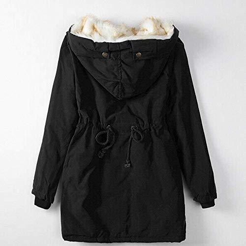 Coat Parka Con Color Sólido Outwear Jacket Faux Grueso Las Fur Schwarz Suelta Moda Señoras Abrigo De Mujeres Trench Cálido Para Fleece Apretado Salvaje Invierno Capucha 7vxOqH