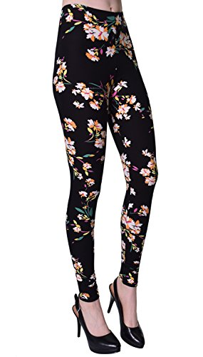 VIV Collection Plus Size Printed Brushed Ultra Soft Leggings (Lily Black)