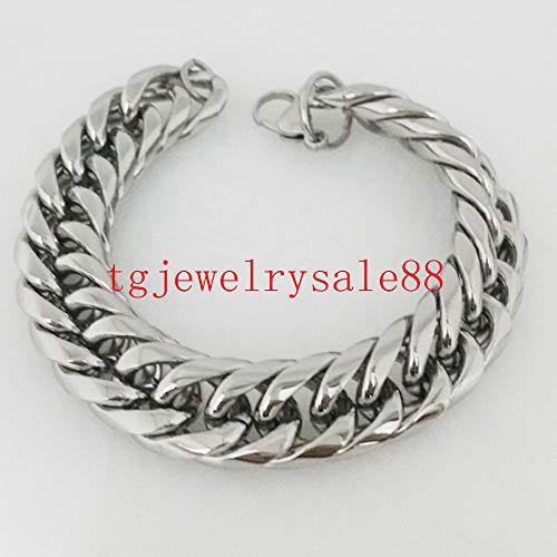 Tone Link Earrings - Top Polishing Silver Tone Curb Link Chain Bracelets | Men's Biker Cool Stainless Steel Cuff Jewelry (16Mm Wide)