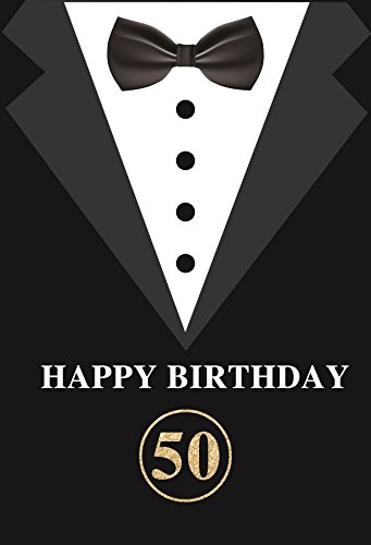 Yeele 4x6ft 50歳の誕生日写真ブース 写真撮影用背景 タキシード服 ネクタイ スーツ カスタマイズ可能 紳士の誕生日 背景 バナー 装飾 父 男性 紳士 ポートレート 撮影 スタジオ小道具   B07GLS9CS7