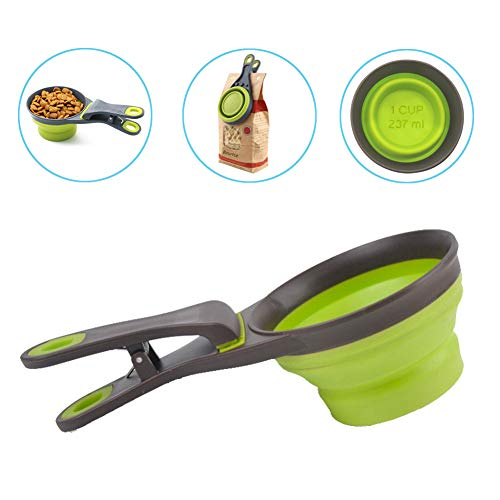 PGFUN Pet Food Scoop, Collapsible Silicone Measuring Cup, 3 in 1 Klip Scoop for Cat Dog Food
