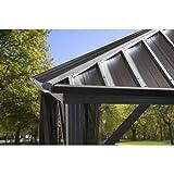 Sojag 10' x 12' Dakota Hardtop Gazebo Outdoor Sun Shelter, Black,Brown