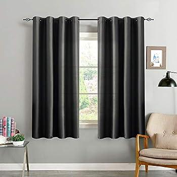 Amazon Com Black Bedroom Curtains 63 Inch Length Faux