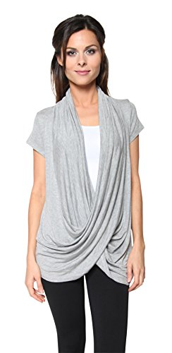 Free to Live Women's Lightweight Short Sleeve Criss Cross Pullover Nursing Top (Large, Heather Grey)