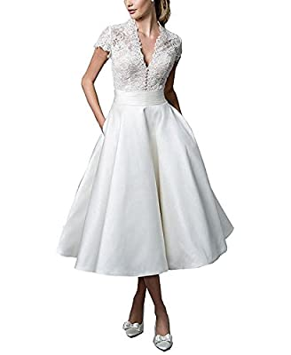 AbaoWedding Women's V-neck Sheer Back Tea-length Elegant Wedding gowns Bridal Dress