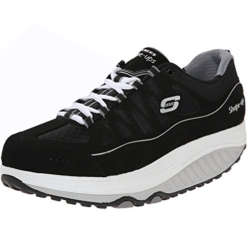 Skechers Women's Shape UPS 2.0 Comfort Stride Fashion Sneaker, Black/White, 11 M - Ups Black Shape