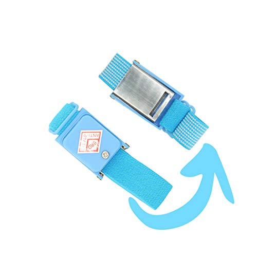Blue Cordless Anti Static Wrist Strap Protect Your PC from 5 Pack Static Electricity and Yourself When Working on Sensitive Electronics ()