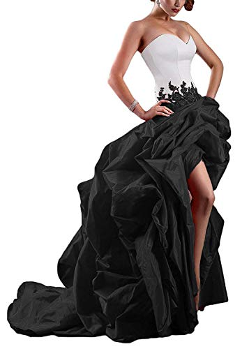 (WiWiBridal Women's Strapless Sweetheart High Low Taffeta Ball Evening Prom Dress Black)