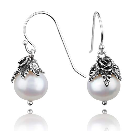 - PAZ Creations .925 Sterling Silver Pearl Dangle Earrings