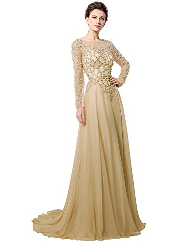 Anmor Chiffon Mother of The Bride Groom Formal Wedding Dresses Long Sleeves Party Evening Gown Champagne US6