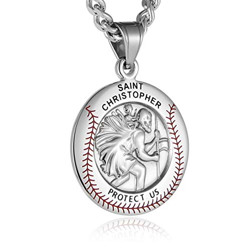 Baseball Christopher - HZMAN Baseball Round St. Christopher Protect Us Pendant Necklace Stainless Steel Solid Medal