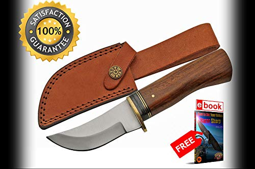 Hunting SHARP KNIFE Rite Edge 8'' Overall Rosewood Handle Skinner + Leather Sheath Combat Tactical Knife + eBOOK by Moon Knives