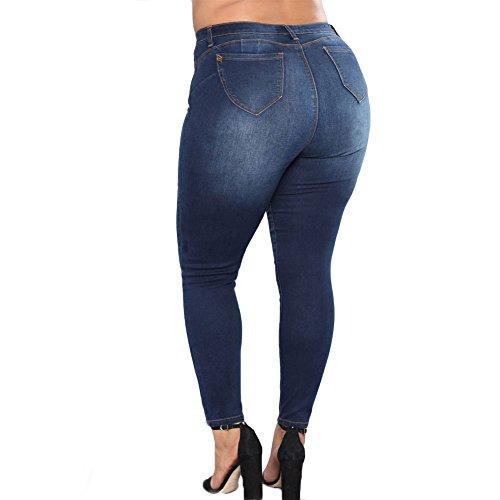 Grossa Normale Taglia Pantaloni Blu Jeans Scuro Skinny Donna Stretch Chiyeee Vita YWqw0TzI