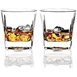 REATR Square 8-Ounce Whisky Glasses set of 2 Rocks Glass Old Fashioned Whiskey Glass Tumbler Bourbon Cognac Scotch Glasses Heavy Base Drinking Glasses for Serving Scotch Drink Ware Clear Whiskey Cup