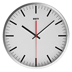 Unity Stainless Steel Baton Black and White Silent Sweep Non-ticking Wall Clock, 12-Inch, White