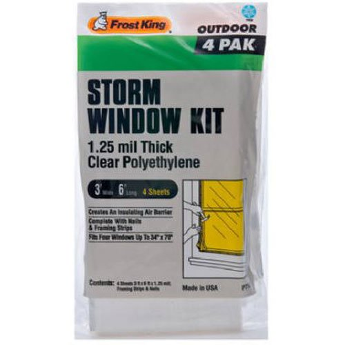 Frost King P714H Economy Outdoor Plastic Storm Window Kits 3-Foot by 6-Foot by 1.25-Millimeters 3 Plastic Windows
