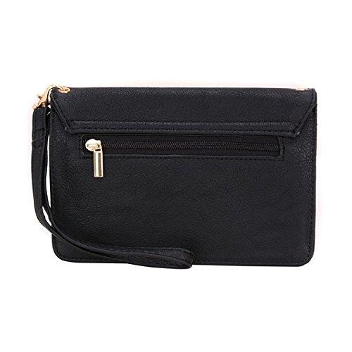 Conze Mujer embrague cartera todo bolsa con correas de hombro compatible con Smart teléfono para Coolpad Roar/Torino S/Max/brillo/Modena negro negro negro