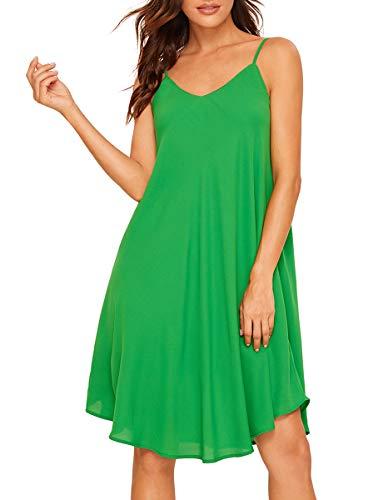 Romwe Women's Adjustable Strap Summer Beach Sleeveless Casual Loose Swing Dress Green S