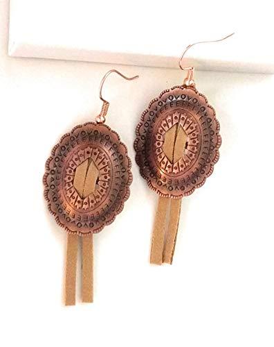 Rustic Concho Leather Tassel Earrings 2 Inch ()