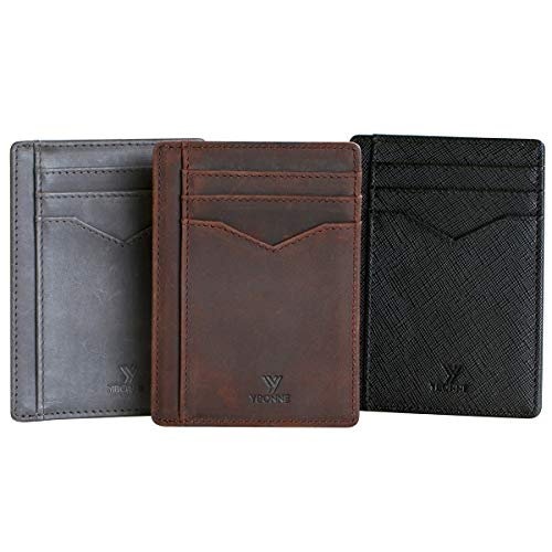 (YBONNE Minimalist Front Pocket Wallet for Men and Women, RFID Blocking Thin Card Holder, Made of Finest Genuine Leather)