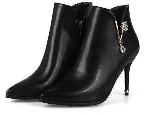 Ankle Pointed Rhinestones Fall Fashion Women's Booties Metal Aisun Black Toe wHIYqF