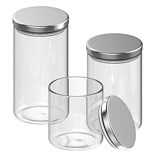 Inmount 3 Piece Canister Set, Multi-size Round Clear Glass Stainless Steel Lid Sealed Bottle, Large Airtight Borosilicate Jars For Storage Suger Tea Coffee Beans and Ground Coffee - 3 Piece Glass Canister