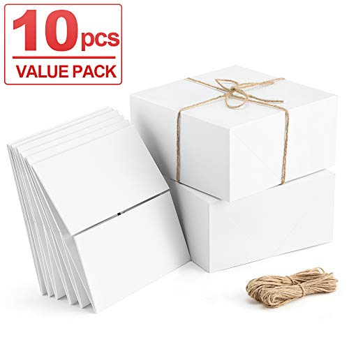 ValBox Premium Gift Boxes 10 Pack 8 x 8 x 4 White Paper Gift Boxes with 20 Meters Hemp Rope for Christmas Gifts, Bridesmaid Proposal Boxes, Easy Assemble Boxes (Bridesmaid Christmas Gifts)