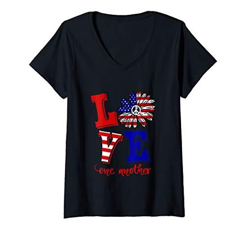 Womens Love One Another  American Flag Daisy Peace Hippie V-Neck - Womens T-shirt Daisy V-neck