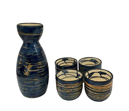 KCHAIN 5 in 1 Ceramic Sake Set Hand Painted Color (Blue) by KCHAIN (Image #1)
