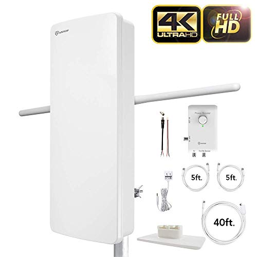 ANTOP ANTENNA HDTV & FM Amplified Antenna AT-800SBS with Dual Outputs Smart Boost System 85 Miles, a Second TV or Any OTA-Ready Streaming Device or Projector
