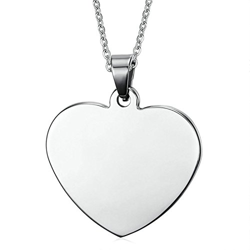 mens womens Stainless Steel Pendant Necklace Love Heart Silver Wedding Necklace Jewelry Gothic Aooaz Jewelry