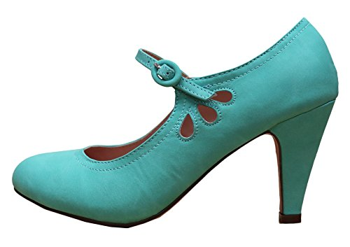 Cambridge Select Dames Ronde Neus Mid Hielen Mary Jane Jurk Pump Mint