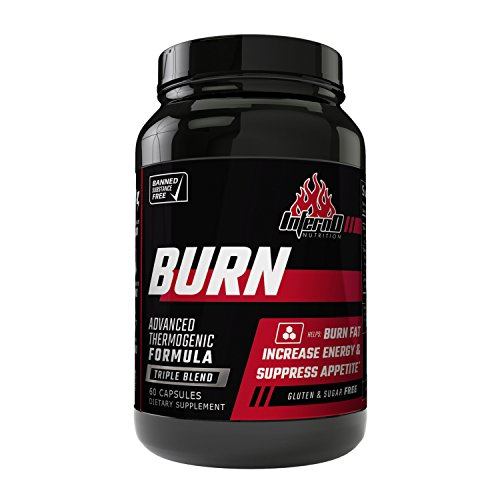 Inferno Nutrition BURN Triple Blend Fat Burner, Appetite Suppressant, Metabolism Support, 60 caps | Weight Loss Pill for Men & Women Increase Energy Burn Calories Lose Belly Fat Fast Best Diet Pill by Inferno Nutrition