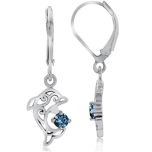 Silvershake Genuine London Blue Topaz 925 Sterling Silver Dolphin Filigree Leverback Dangle Earrings