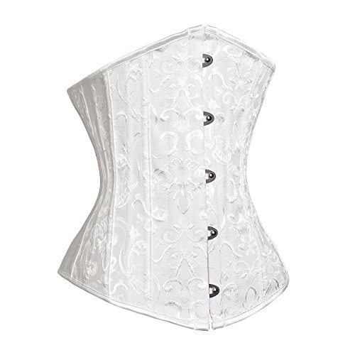 MissTalk Donna waist training corset corsetti burlesque Modellante Bustino Overbust Corsetto Top (large, bianco)