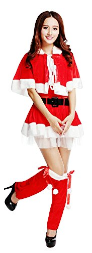 Santa Sexy Outfit (OVOV Women's Santa Costume Sexy Fancy Outfit Christmas Cosplay with Leg Warmers (Red))