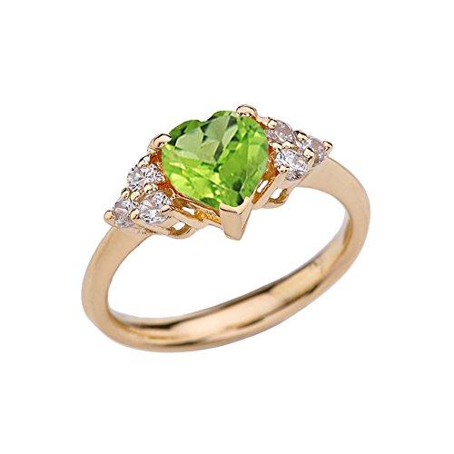 - CaliRoseJewelry Yellow Gold 14k Heart Shape Created August Peridot Gemstone Birthstone Ring (Size 7.5)