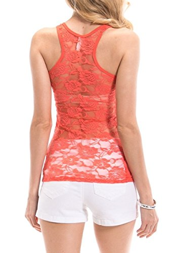 Top Tank Ribbed Lace (Lace Racerback Ribbed Front Tank Top Cami (Orange, Small))