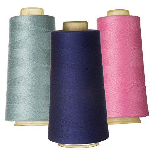 - 100% Spun Polyester Sewing Thread 3 Pieces of 3000 Yard Overlock Connecting Thread for DIY,Handwork,Serger,Overlock,Single Needle,Sewing Machine