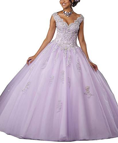 Gemila Women's Lace Applique Beaded Sweet Sixteen Floor Length Prom Ball Gown Quinceanera Dress Light Purple US24]()