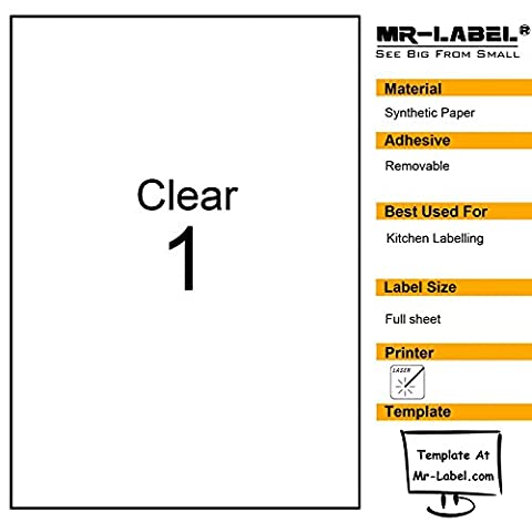 Mr-Label Clear Full Letter Sheet Removable Adhesive Labels -Transparent Tear-Resistant Waterproof Stickers for Kitchen Use | Manufacturing and Storage-Laser Print Only (25
